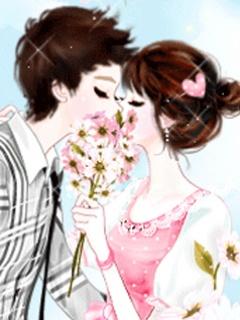 gambar kartun korean kiss romantis